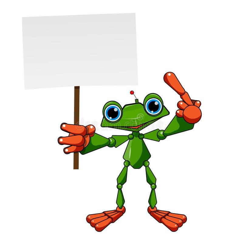 Akcyjny Ilustracyjny żaba robot z plakatem royalty ilustracja