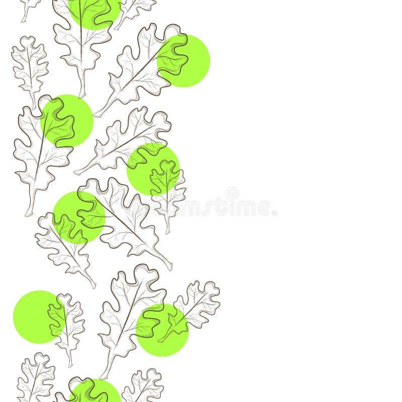 Akcyjny ilustracyjny dekoracyjny tło z dębowymi liśćmi obrazy stock