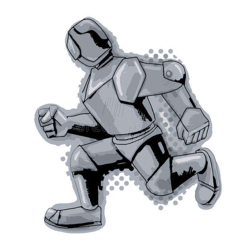 Akcyjny Ilustracyjny Działający metalu mężczyzna ilustracji