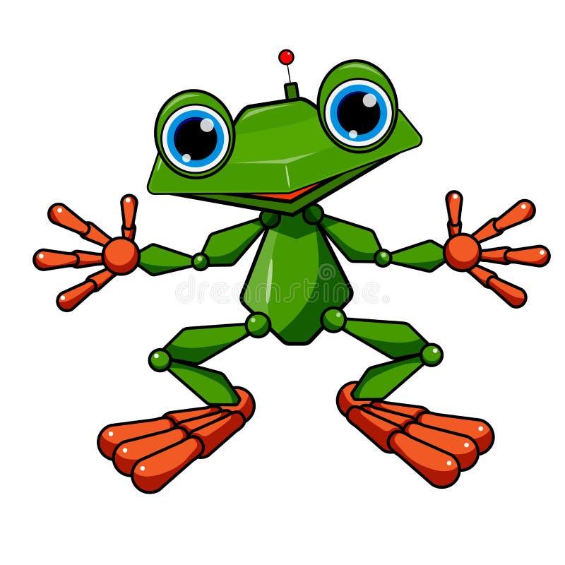 Akcyjny Ilustracyjny Zielonej żaby robot ilustracja wektor