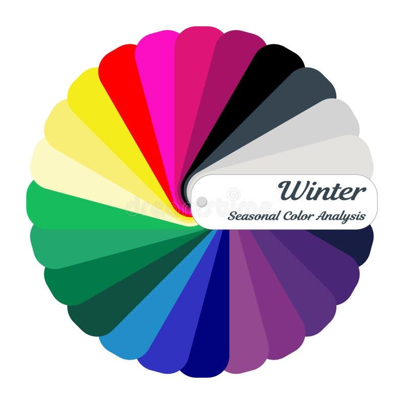 Akcyjny koloru przewdonik sezonowa kolor analizy paleta dla zima typ Typ żeński pojawienie royalty ilustracja