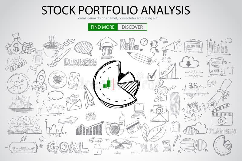 Akcyjny portfolio analizy pojęcie z Doodle projekta stylem ilustracja wektor