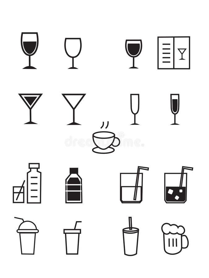 Akcyjny wektor pije baru i alkoholu napoju prostych kreskowych ikon ustawiać, royalty ilustracja