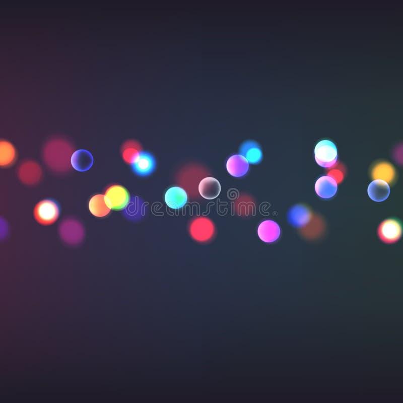 Akcyjny wektorowy ilustracyjny abstrakcjonistyczny tła bokeh Zamazana ostrość, bożonarodzeniowe światła Wiele światła, bokeh, bok ilustracja wektor
