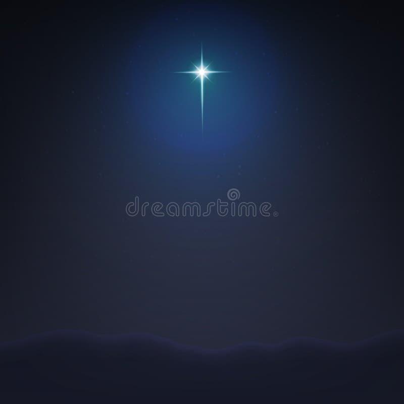 Akcyjny wektorowy ilustracyjny Betlejem Gwiazdowy minimalistic tło Narodziny jezus chrystus EPS 10 ilustracji