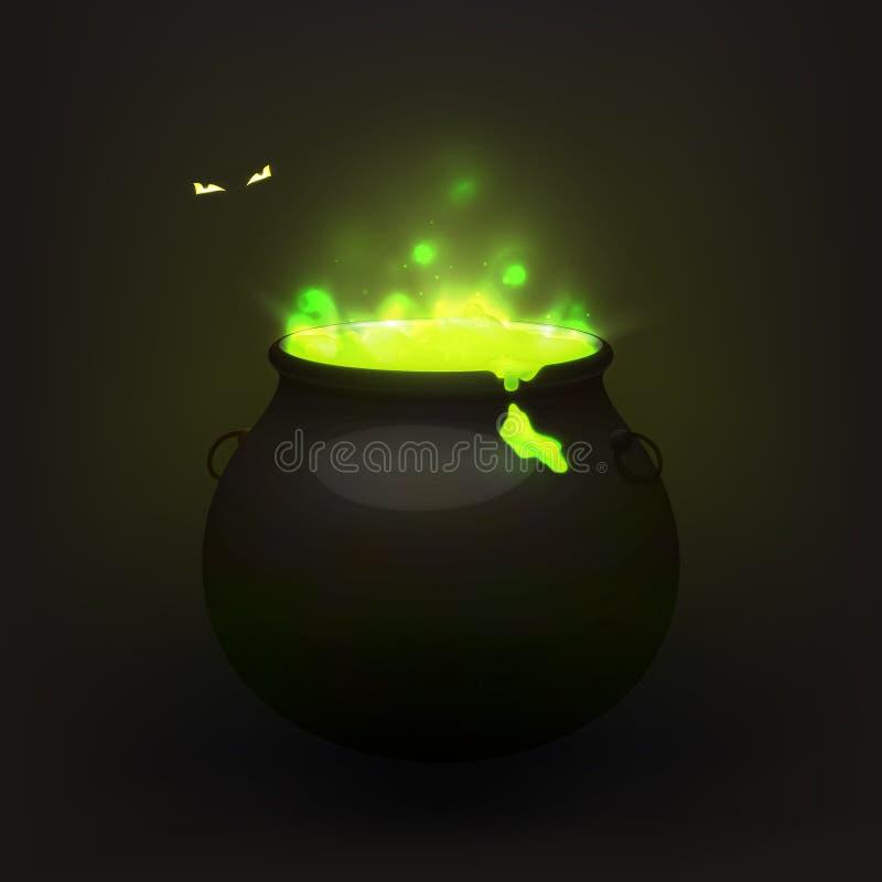 Akcyjny wektorowy ilustracyjny czarownica kocioł odizolowywający na przejrzystym tle Warzący napój miłosny, odwar ciemne oczy ilustracja wektor