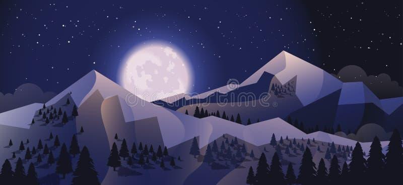 Akcyjny wektorowy ilustracyjny horyzontalny tło góry krajobraz w mieszkanie stylu ilustracji
