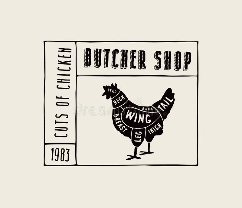 Akcyjny wektorowy kurczak ciie diagram w stylu handmade wykresu ilustracji