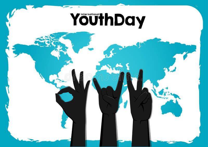 Akcyjny wektorowy międzynarodowy młodość dzień, 12 Sierpniowej okrąg ręki na w górę światowej mapy błękita tła ilustracja wektor