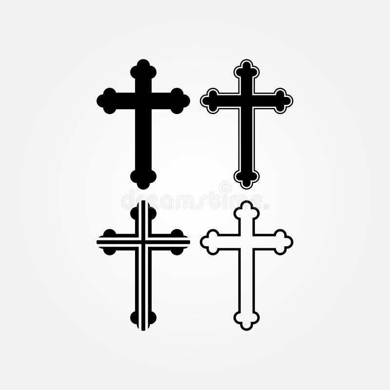 Akcyjny wektorowy religia krzyża ikony set royalty ilustracja