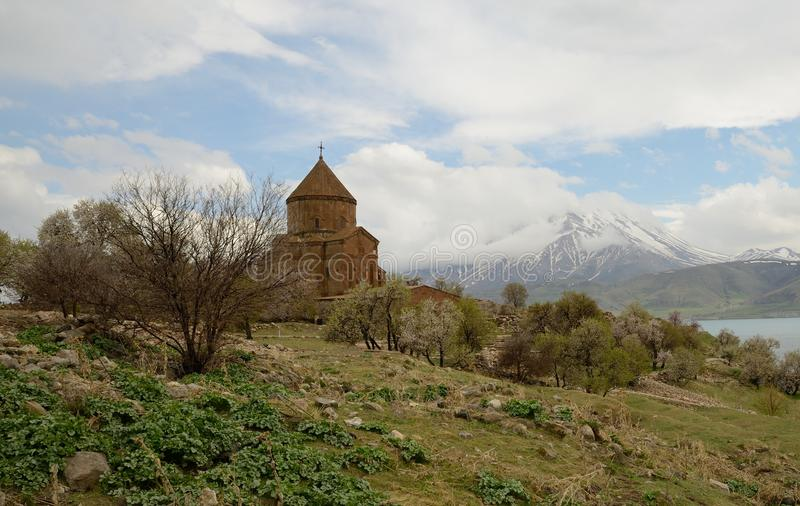 Akdamar Island. The Armenian Cathedral Church of the Holy Cross (from 10th century). Akdamar Island on Van Lake, Turkey royalty free stock image