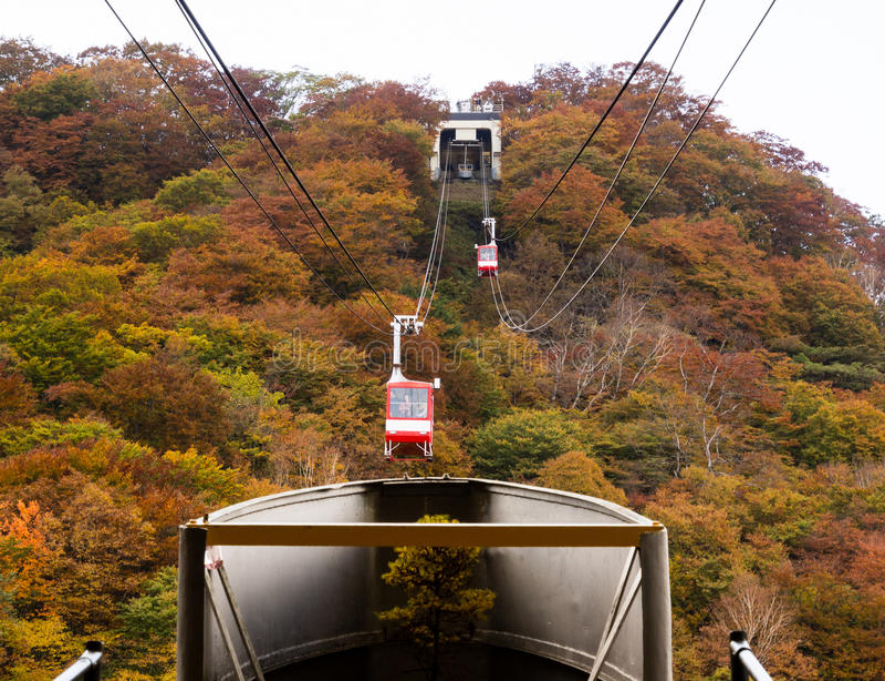 Akechidaira ropewai i den Nikko nationalparken, Japan royaltyfria foton