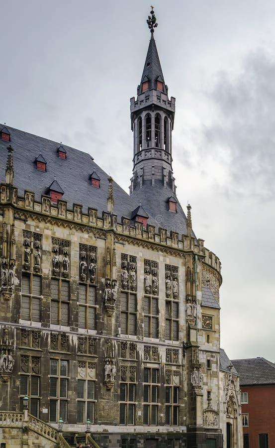 Aken Rathaus (stadhuis), Duitsland stock foto's