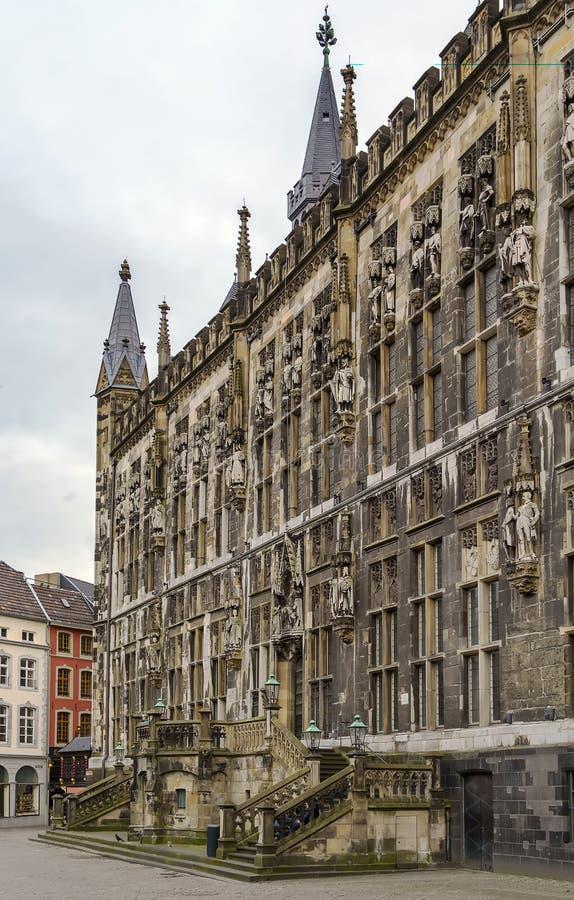 Aken Rathaus (stadhuis), Duitsland stock fotografie