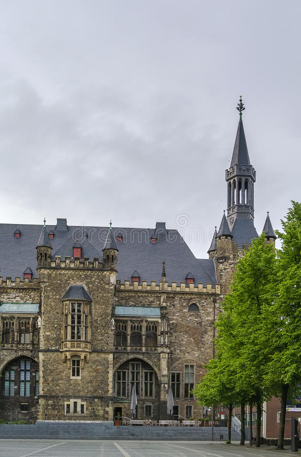Aken Rathaus (stadhuis), Duitsland stock foto
