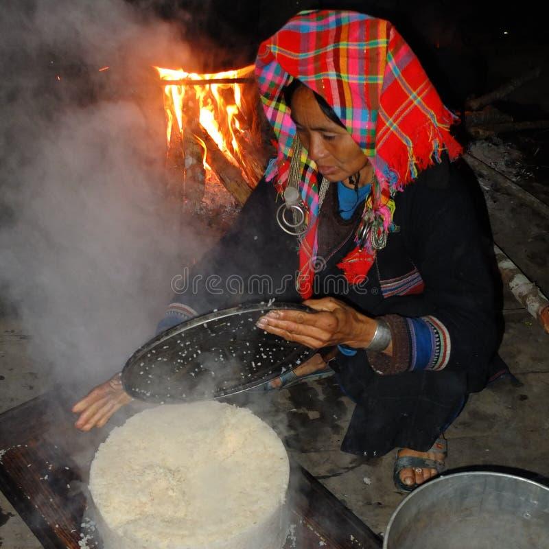Akha-Frau, die Reis kocht. stockbild