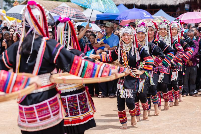 Akha Hill tribe minority traditional dancing on Akha Swing Festival. Doi Mae Salong, Chiang Rai - THAILAND, September 8, 2018 : Akha Hill tribe minority stock photos