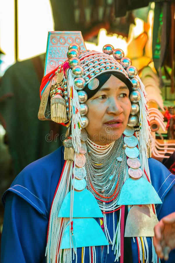 An Akha hilltribe woman royalty free stock photo