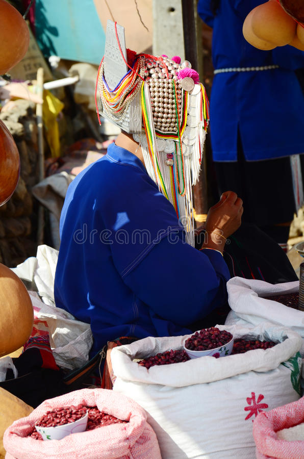 Akha tribe selling product an indigenous. At hill of Doi Mae Salong (Mountain) chiang Rai, Thailand.nnThe Akha are an indigenous hill tribe who live in small royalty free stock images