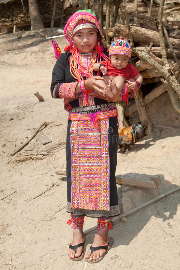 Akha woman with baby royalty free stock images