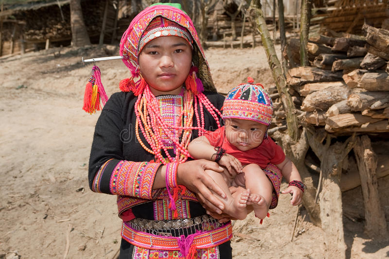 Akha woman with baby stock images
