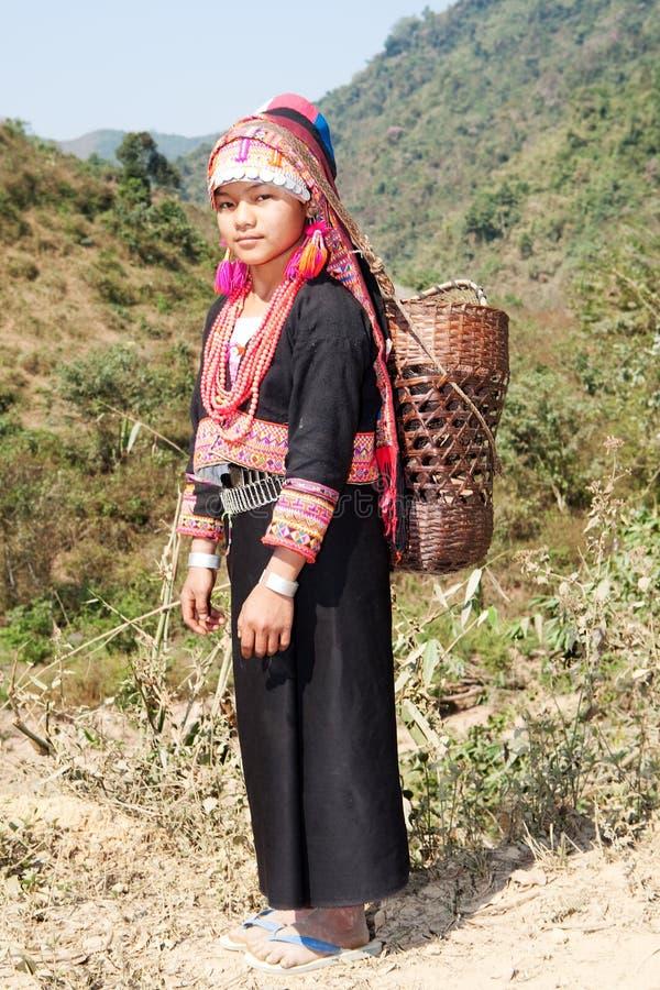 Akha woman in Laos stock photo