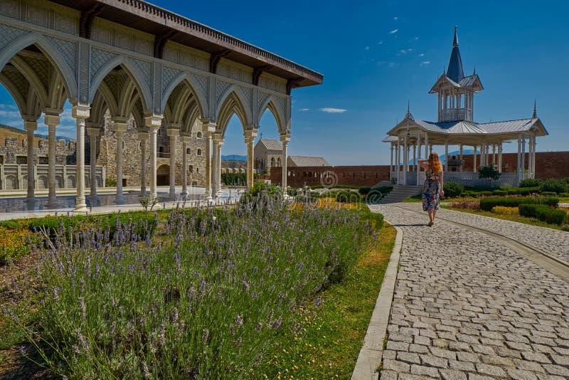 AKHALTSIKHE, GEORGIA - 8 AGOSTO 2017: Comp. famosi del castello di Rabati immagine stock libera da diritti