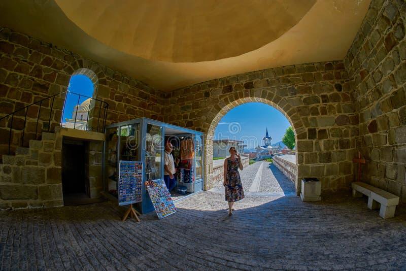 AKHALTSIKHE, LA GÉORGIE - 8 AOÛT 2017 : Élém. célèbres de château de Rabati image libre de droits