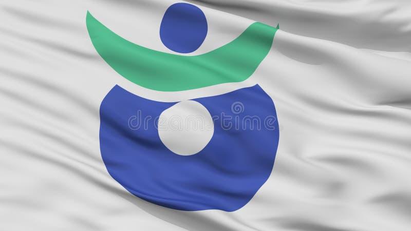 Aki City Flag, Japan, Hiroshima Prefecture, Closeup View. Aki City Flag, Country Japan, Hiroshima Prefecture, Closeup View vector illustration