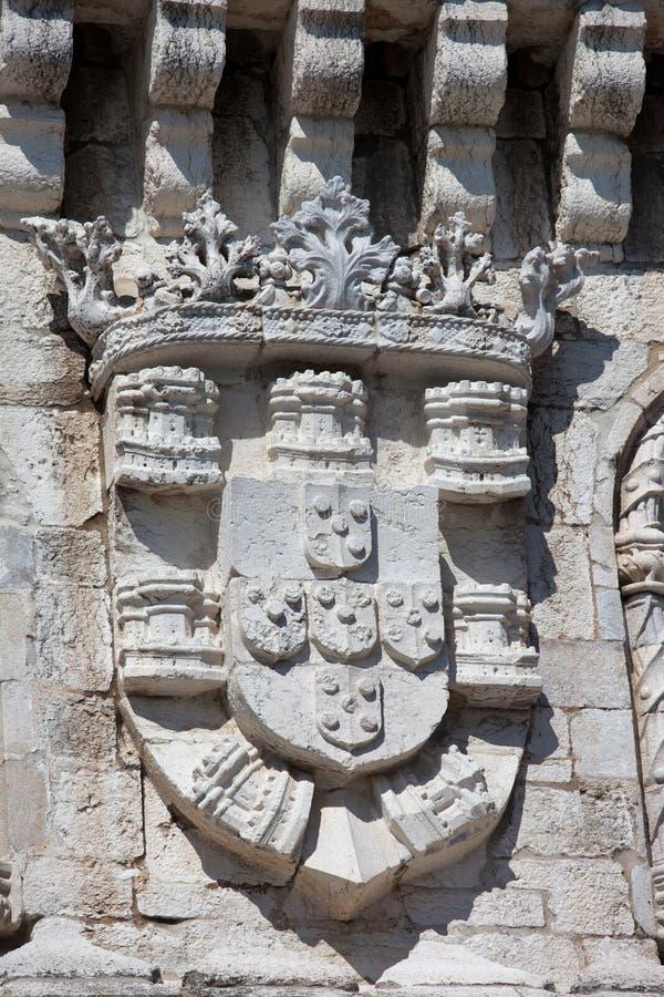 Żakiet ręki królewiątko Manuel Ja przy Belem wierza zdjęcia stock