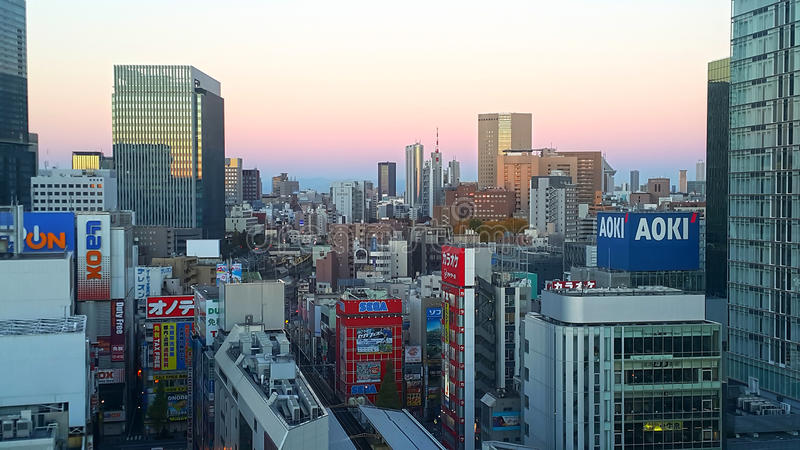 Akihabara District in Tokyo, Japan. An evening view of Akihabara in downtown Tokyo, Japan royalty free stock photography