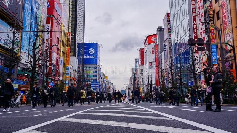 Shopping Season in Akihabara, Japan. AKIHABARA / JAPAN - MARCH 18, 2018: Japanes people spending their weekends in Akihabara, doing some shopping and walking in royalty free stock photography
