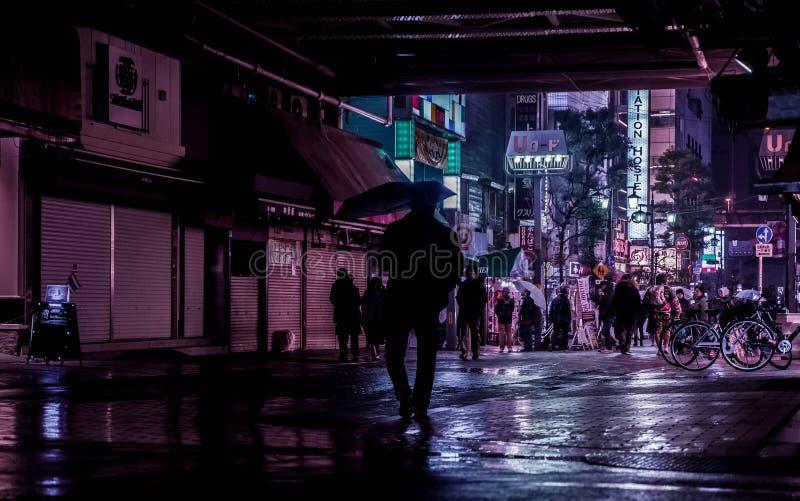 Akihabara nocy deszczu spaceru zmrok fotografia royalty free