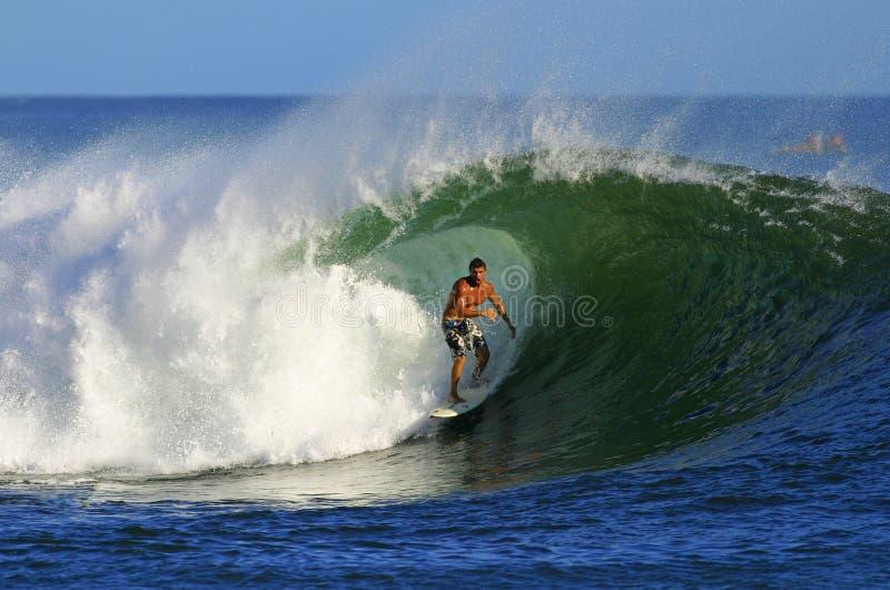 akima在冲浪者冲浪的waikiki附近的夏威夷话ౕ 免版税库存照片