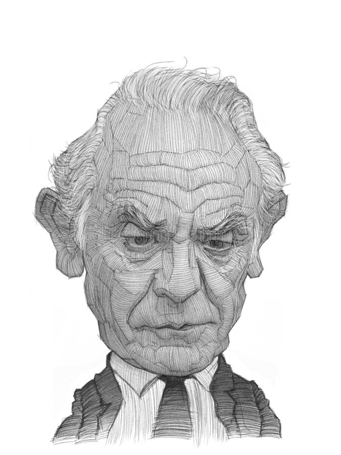 Akis Tsochatzopoulos Caricature portrait Sketch royalty free stock images