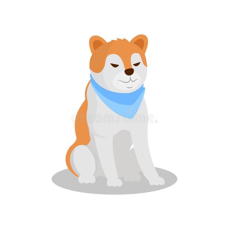 Akita Inu-rashond, leuke het karakter vectorillustratie van het puppyhuisdier op een witte achtergrond stock illustratie