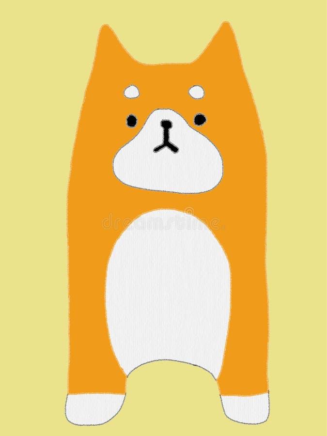 Akita Inu, Vektor-Illustration des orange Kopfes Akita Dog, Gesicht des Japaners Akita Puppy lokalisiert auf gelbem Hintergrund stockfotografie