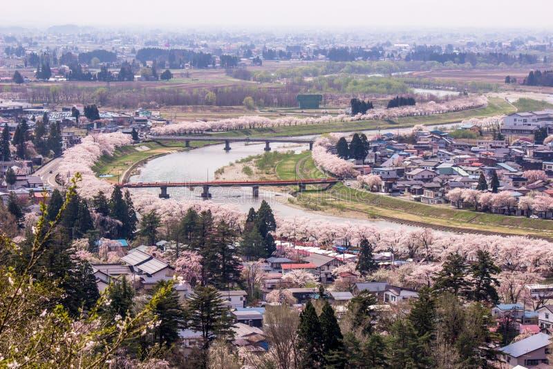 Akita, Tohoku, Japan: Panorama van Kakunodate-stad en de Hinokinaigawa-Rivier tijdens het festival van de kersenbloesem zoals die stock foto