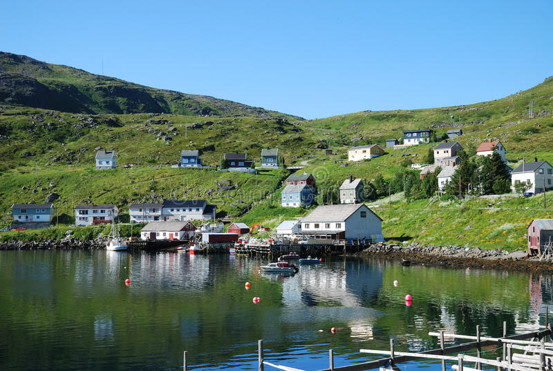 akkarfjord捕鱼soroya村庄 库存图片