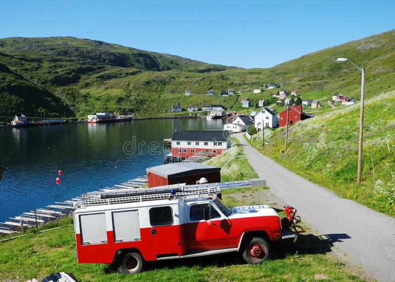 akkarfjord połowu lato widok wioska fotografia stock