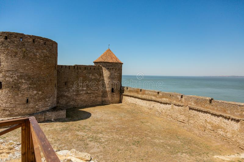 Akkerman Bilhorod-Dnistrovskyi fortress in Ukraine. Medieval castle. Interior of Akkerman Bilhorod-Dnistrovskyi fortress in Ukraine. Medieval castle royalty free stock photos