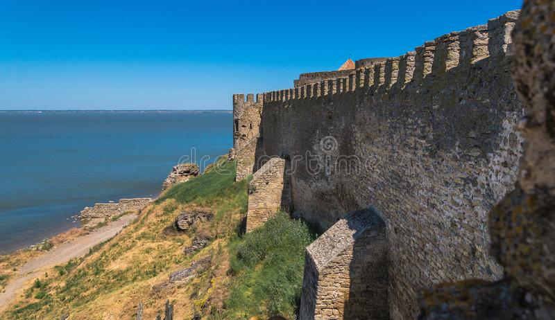 Akkerman Fortress near Odessa city in Ukraine. Akkerman Citadel in Bilhorod-Dnistrovskyi near Ukrainian Odessa city in a sunny day royalty free stock image