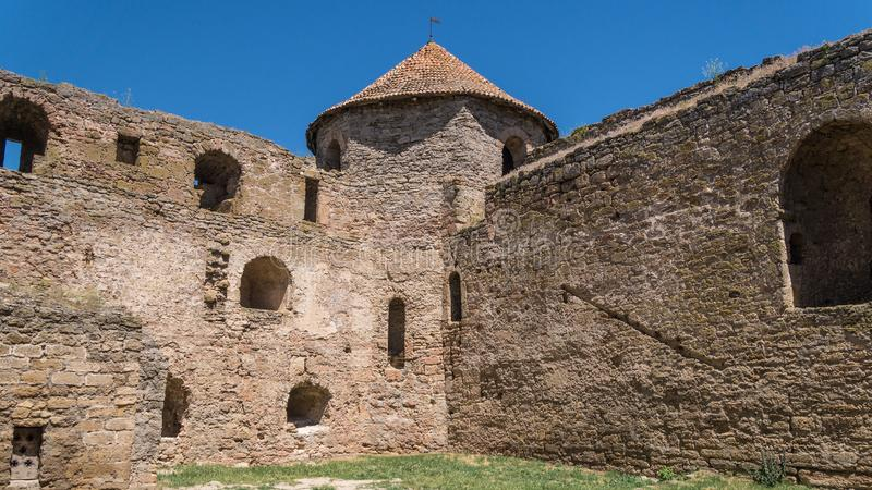 Akkerman Fortress near Odessa city in Ukraine. Akkerman Citadel in Bilhorod-Dnistrovskyi near Ukrainian Odessa city in a sunny day stock photography