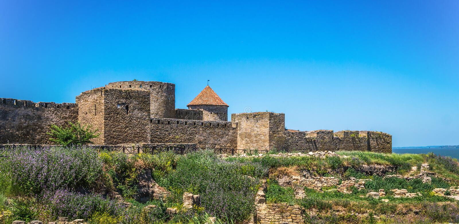 Akkerman Fortress near Odessa city in Ukraine. Akkerman Citadel in Bilhorod-Dnistrovskyi near Ukrainian Odessa city in a sunny day royalty free stock photography