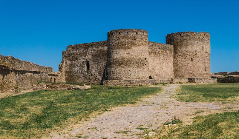 Akkerman Fortress near Odessa city in Ukraine. Akkerman Citadel in Bilhorod-Dnistrovskyi near Ukrainian Odessa city in a sunny day royalty free stock images