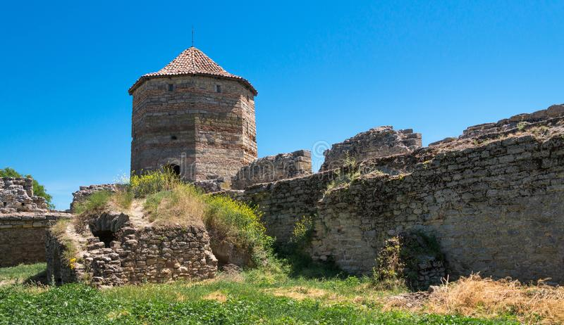 Akkerman Fortress near Odessa city in Ukraine. Akkerman Citadel in Bilhorod-Dnistrovskyi near Ukrainian Odessa city in a sunny day stock photo