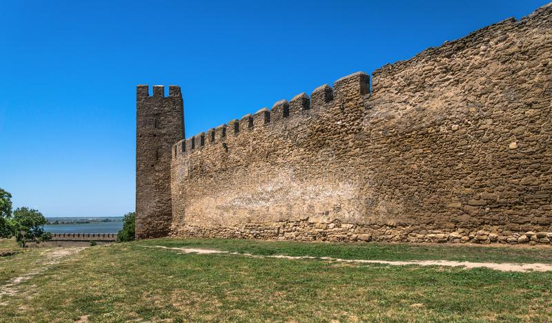 Akkerman Fortress near Odessa city in Ukraine. Akkerman Citadel in Bilhorod-Dnistrovskyi near Ukrainian Odessa city in a sunny day stock images