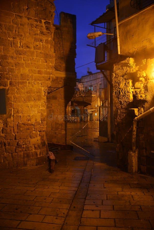 akko古城街道在晚上 以色列 库存照片