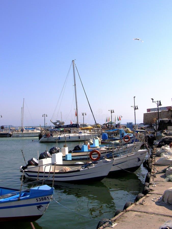 Akko-Hafen und die alte Stadt von Israel stockfotografie
