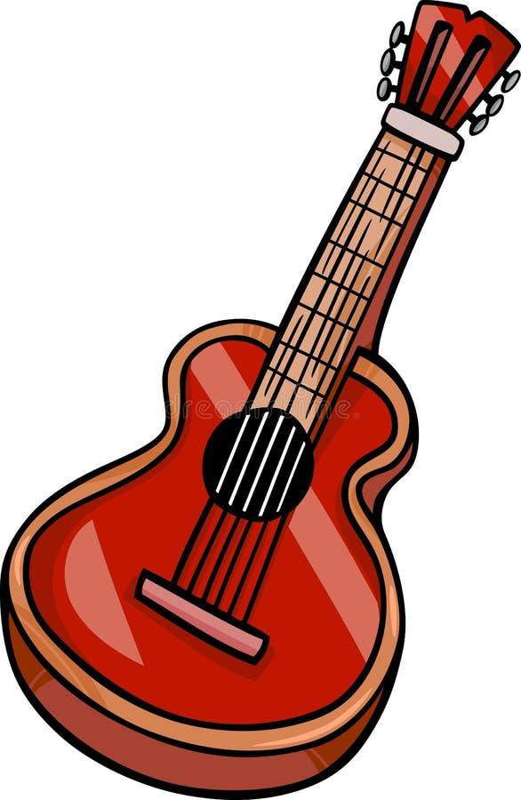 Akoestisch de klemart. van het gitaarbeeldverhaal stock illustratie